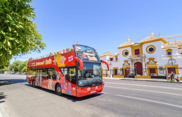 Panoramic red bus in seville